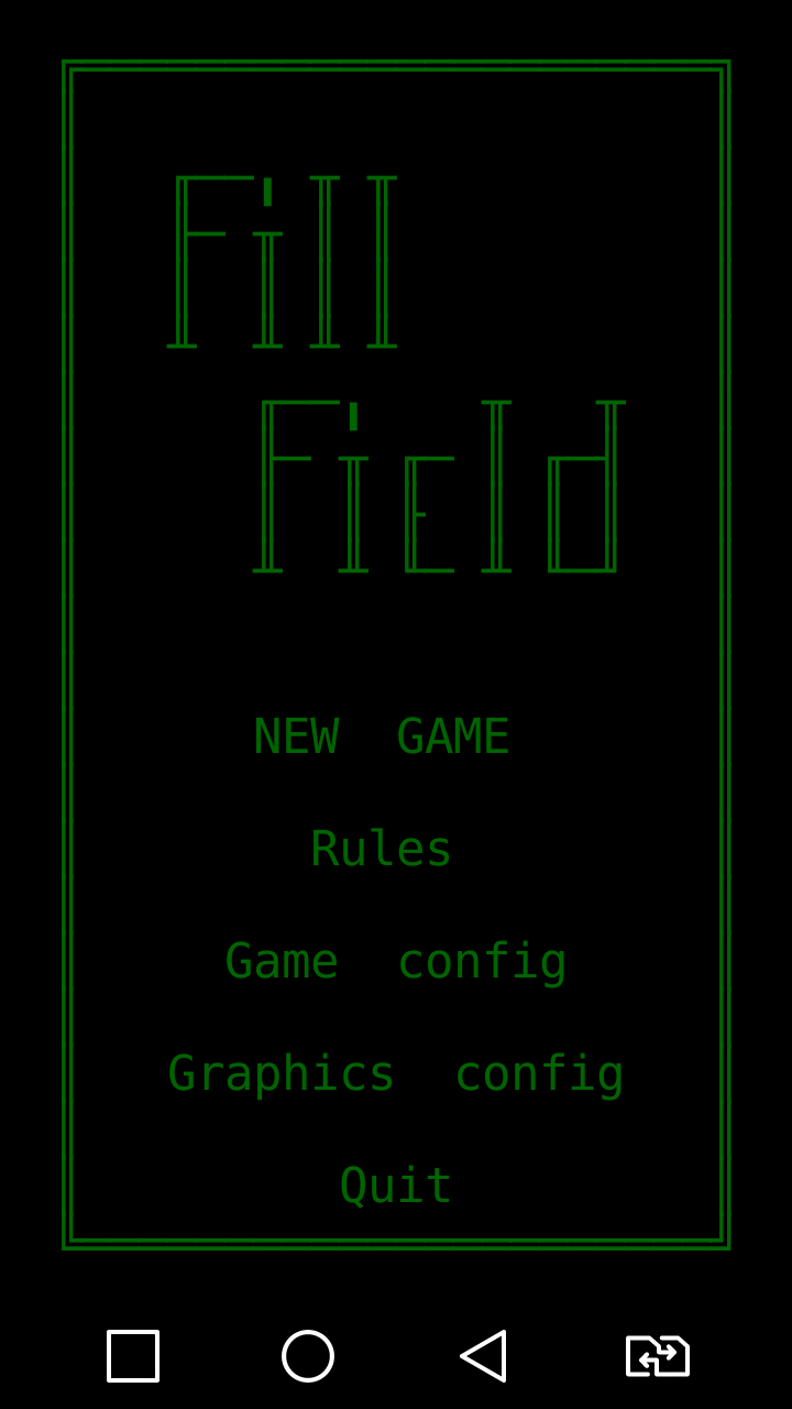 FillField ASCII game for Android Main menu