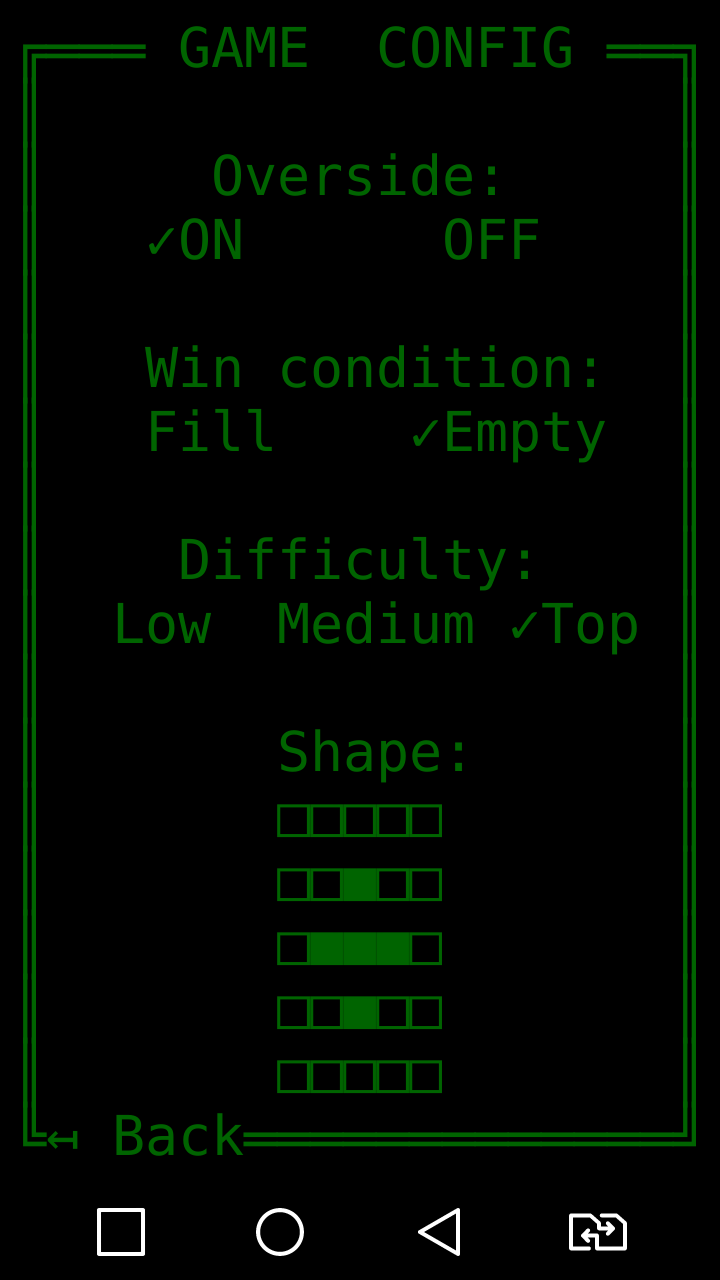 FillField ASCII game for Android Rules