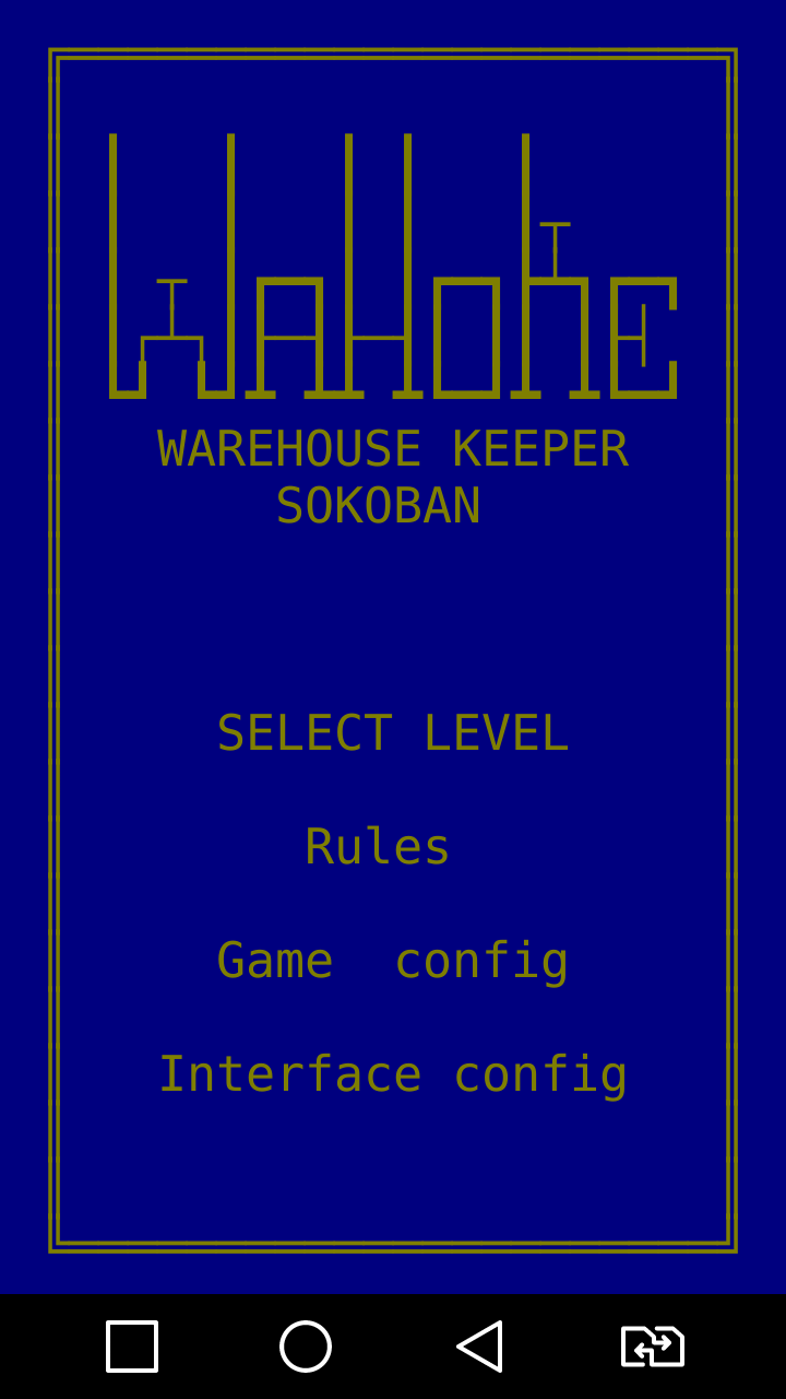 WaHoKe(Sokoban) ASCII game for Android Main menu